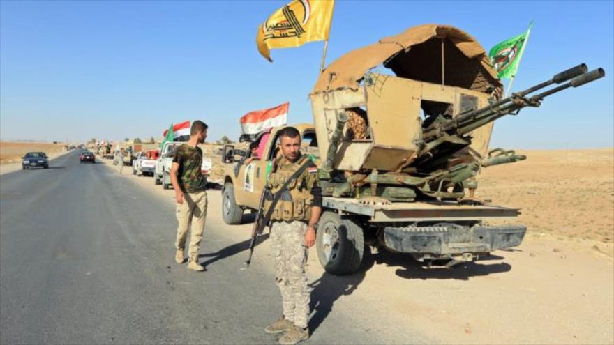 Fuerzas de Las Unidades de Movilización Popular (Al-Hashad Al-Shabi, en árabe) en la ciudad de Zumar, en la provincia iraquí de Nínive.