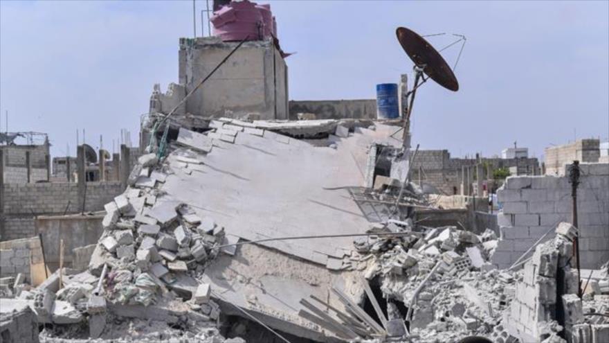 Destrucciones generadas en zonas residenciales tras un ataque aéreo perpetrado por aviones israelíes contra Damasco, capital de Siria. (Foto: SANA)