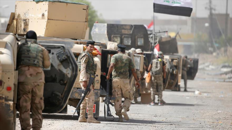 Soldados del Ejército iraquí en la ciudad de Faluya, ubicada en la provincia occidental de Al-Anbar.