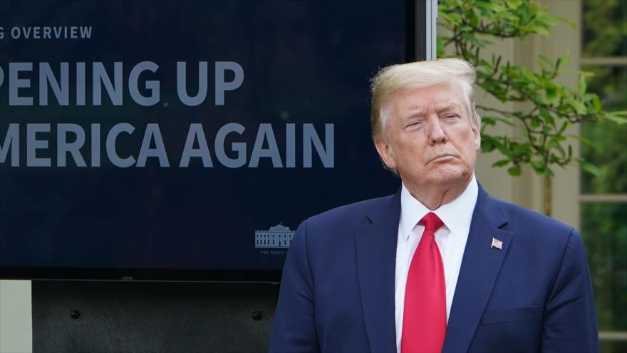 El presidente de Estados Unidos, Donald Trump, habla durante una conferencia de prensa en la Casa Blanca, Washington, 27 de abril de 2020. (Foto: AFP)