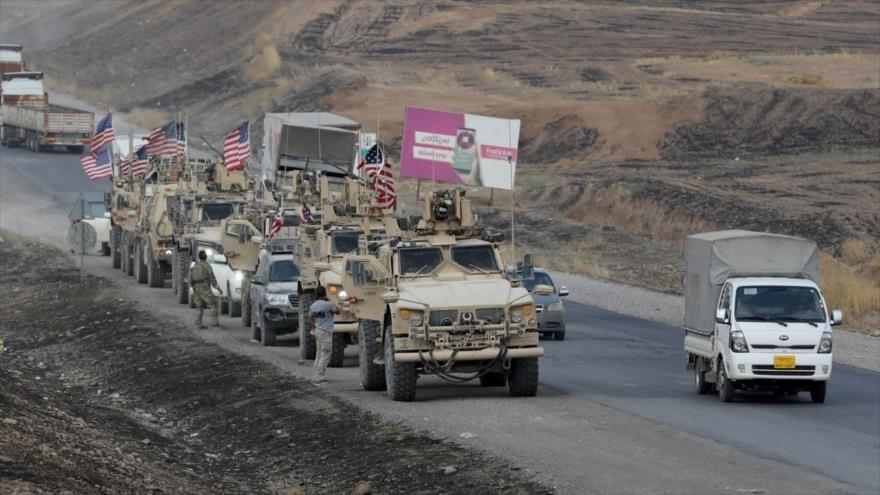 Un convoy militar de las fuerzas estadounidenses a lo largo de la frontera de Siria, 21 de octubre de 2019. (Foto: Agencia Anadolu)
