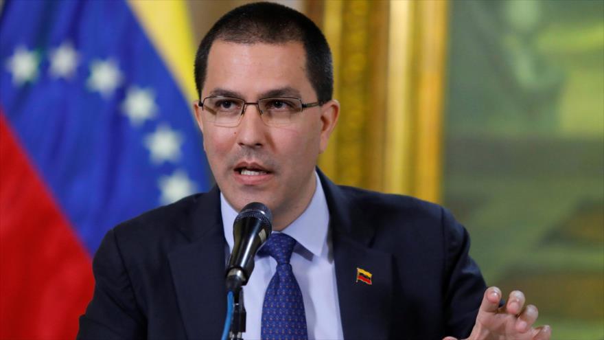 El canciller de Venezuela, Jorge Arreaza, en un acto oficial en Caracas, la capital.