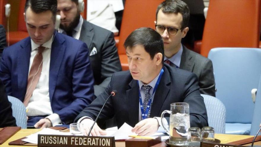El representante adjunto de Rusia en la Organización de las Naciones Unidas (ONU), Dmitri Polianski.