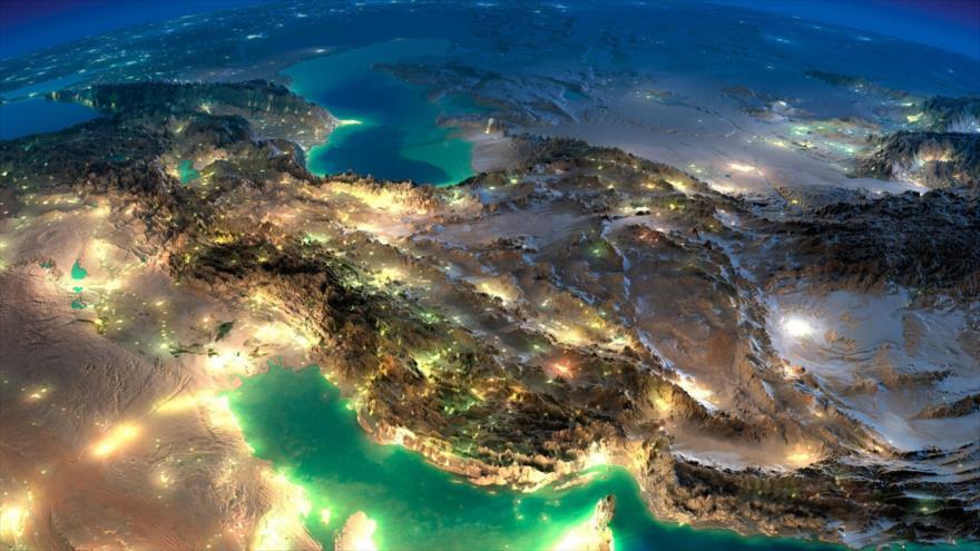 Imagen satelital de Irán y el Golfo Pérsico.