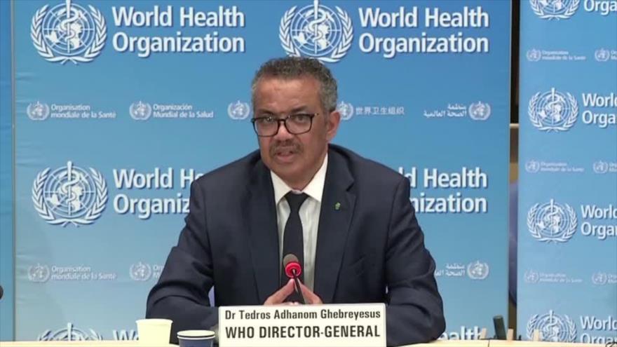 El director general de la Organización Mundial de la Salud (OMS), Tedros Adhanom Ghebreyesus, en una rueda de prensa, 29 de abril de 2020.