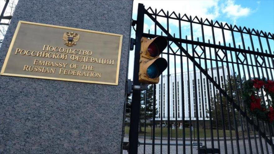 La embajada de Rusia en Washington D.C, la capital de EE.UU.