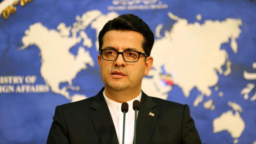 El portavoz de la Cancillería de Irán, Seyed Abás Musavi, en una conferencia de prensa en Teherán, la capital.