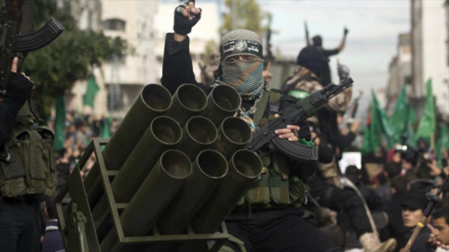 Desfile del brazo armado del Movimiento de Resistencia Islámica de Palestina (HAMAS) en la Franja de Gaza.