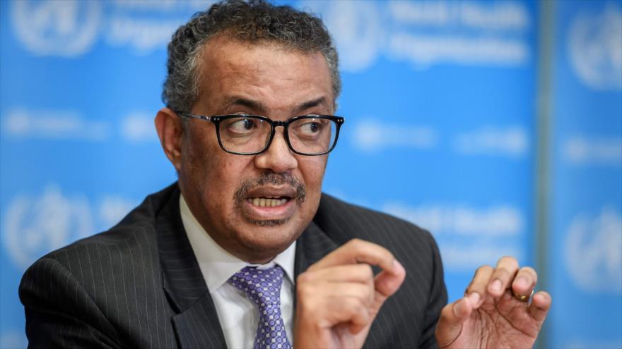 Director General de Organización Mundial de la Salud (OMS), Tedros Adhanom Ghebreyesus, en conferencia de prensa, 9 de marzo de 2020, Ginebra (Foto: AFP)