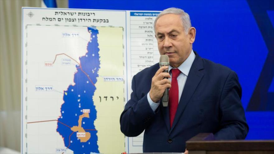 El primer ministro israelí, Benjamín Netanyahu, presenta su plan de anexar más partes de Cisjordania, la ciudad de Ramat Gan, 10 de septiembre de 2019.