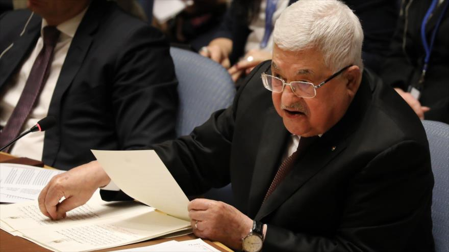 El presidente palestino, Mahmud Abás, habla en una sesión del Consejo de Seguridad, Nueva York, 11 febrero de 2020. (Foto: AFP)