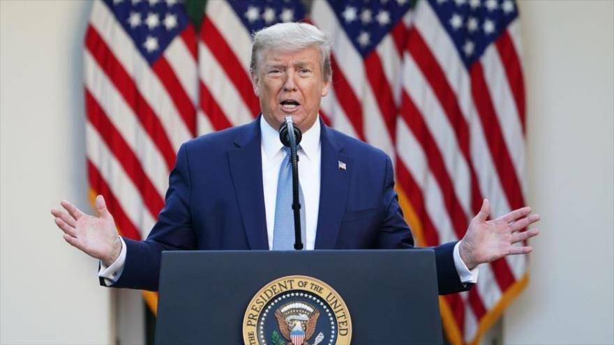El mandatario estadounidense, Donald Trump, ofrece un discurso en la Casa Blanca.