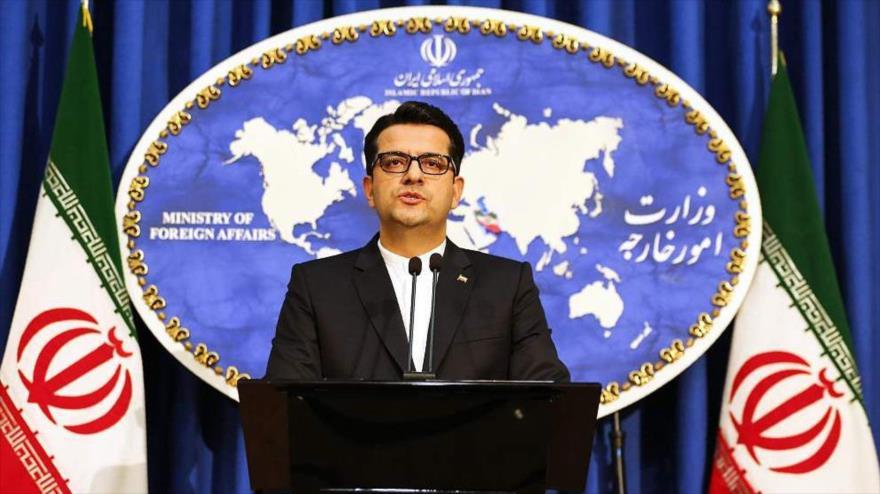 El portavoz del Ministerio de Asuntos Exteriores de Irán, Seyed Abás Musavi, en una rueda de prensa en Teherán.