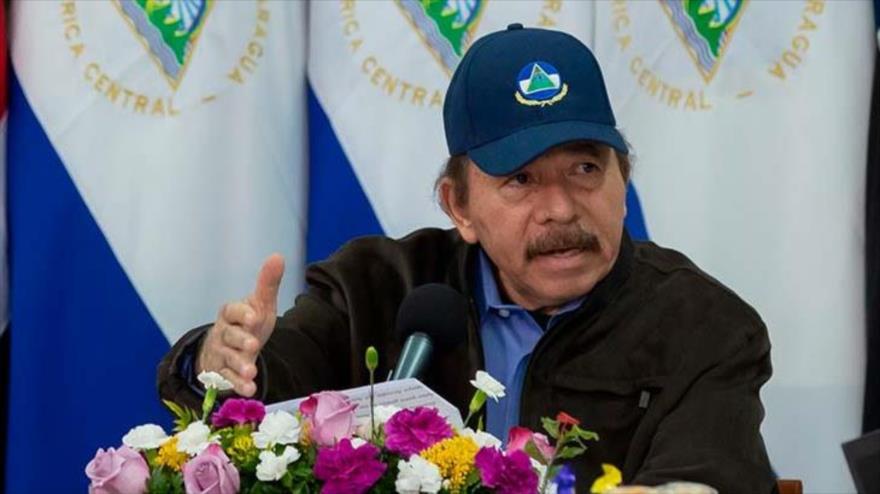 El presidente de Nicaragua, Daniel Ortega, da un discurso televisivo, 18 de mayo de 2020.