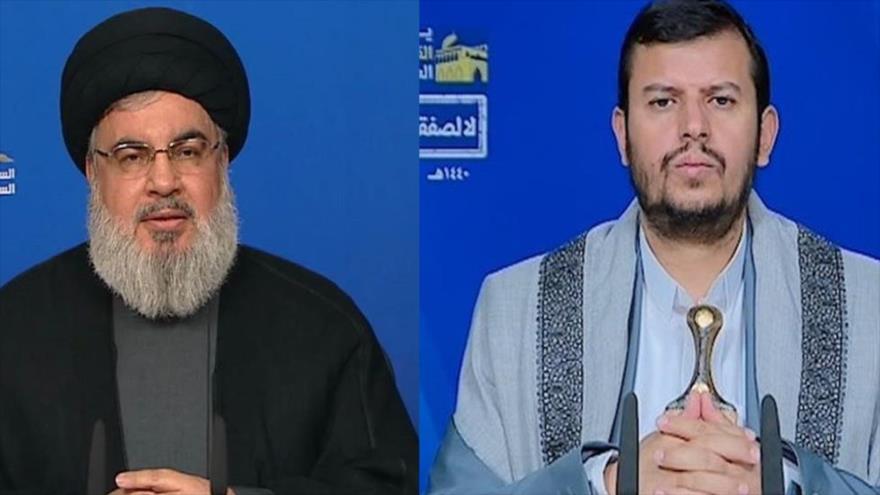 Foto combinada muestra a seyed Hasan Nasaralá, líder de Hezbolá de El Líbano, y Abdulmalik al-Huthi, líder del movimiento popular yemení Ansarolá (dcha.)