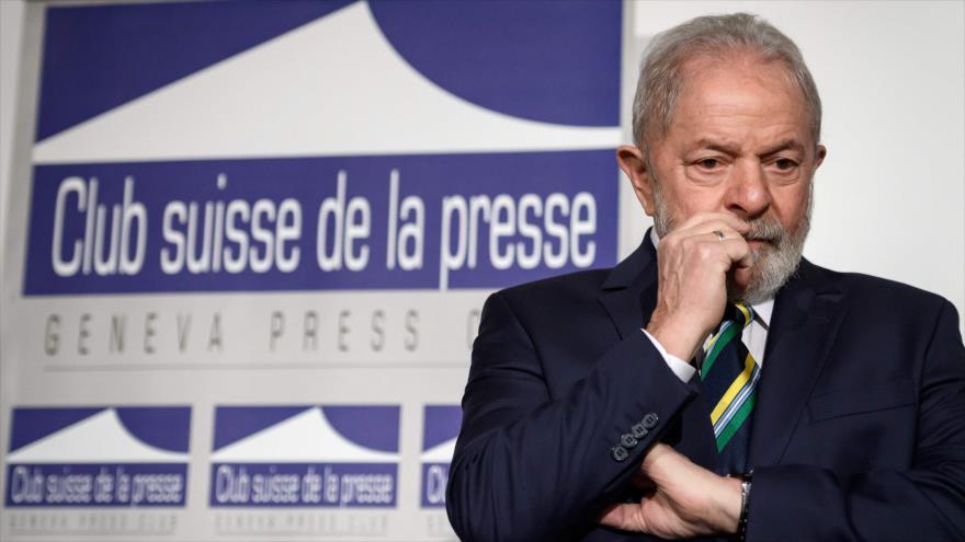 El expresidente brasileño Luiz Inácio Lula da Silva, durante un discurso en Ginebra, Suiza, 6 de marzo de 2020.