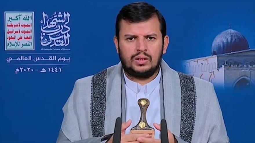El líder del movimiento popular yemení Ansarolá, Abdulmalik al-Houthi, ofrece un discurso, 21 de mayo de 2020.