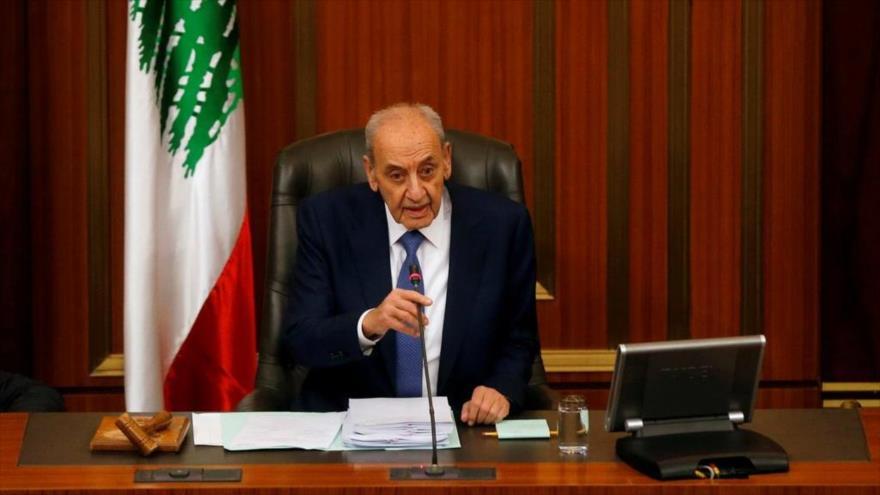 El presidente del Parlamento libanés, Nabih Berri, durante una sesión parlamentaria en Beirut (capital), 27 de enero de 2020. (Foto: Reuters)