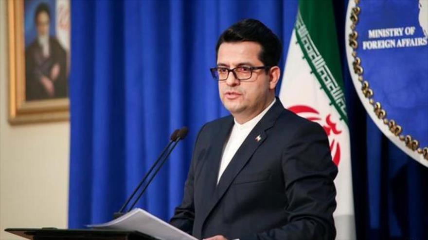 El portavoz de la Cancillería de Irán, Seyed Abás Musavi, en una conferencia de prensa.