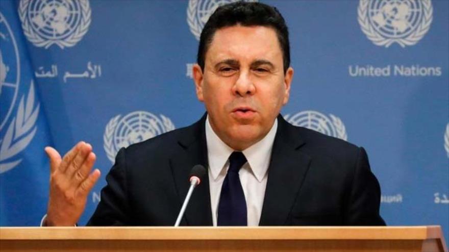 El embajador de Venezuela ante la ONU, Samuel Moncada, en una rueda de prensa.