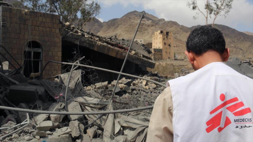 Un centro sanitario, situado en la ciudad yemení de Haydan, destruido por los bombardeos saudíes.