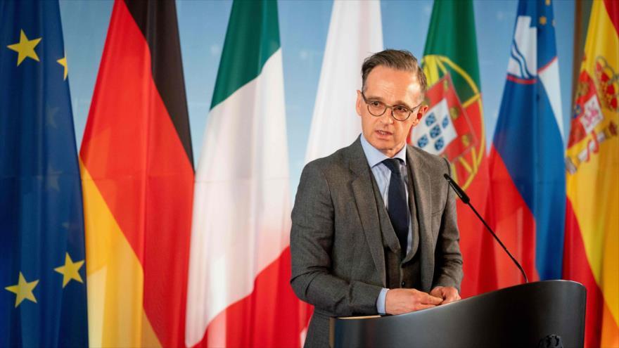 El ministro alemán de Relaciones Exteriores, Heiko Maas, en una conferencia de prensa, Berlín (la capital), 18 de mayo de 2020. (Foto: AFP)