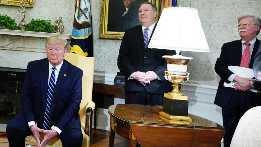 El presidente de EE.UU., Donald Trump, el secretario de Estado, Mike Pompeo, y el asesor de Seguridad Nacional, John Bolton, 20 de junio de 2019.