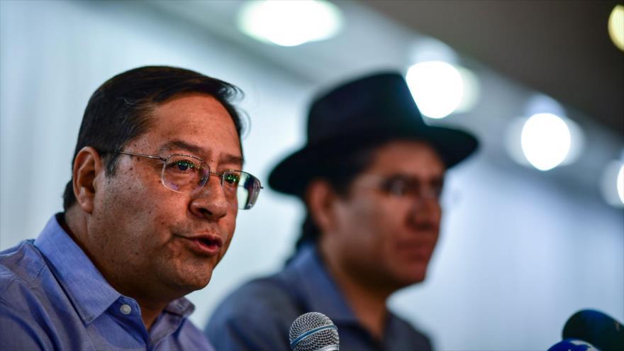 Candidato del MAS a la Presidencia de Bolivia, Luis Arce, en una rueda de prensa, Buenos Aires, capital de Argentina, 20 de enero de 2020. (Foto: AFP)