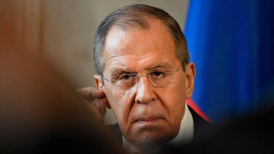 El canciller ruso, Serguéi Lavrov, en una rueda de prensa en Villa Madama, Roma, Italia, 18 de febrero de 2020. (Foto: AFP)