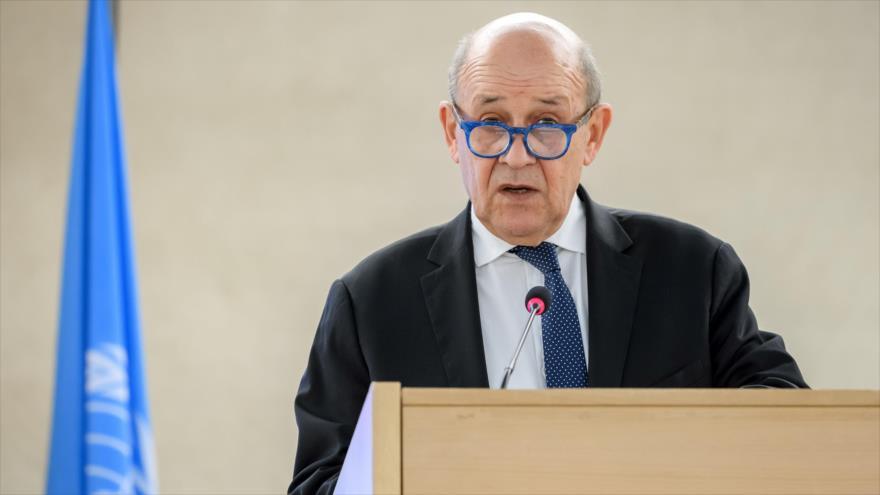 El canciller francés, Jean-Yves Le Drian, en la sesión del Consejo de Derechos Humanos de la ONU, 24 de febrero de 2020. (Foto: AFP)