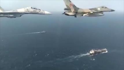 Vídeo de petrolero iraní custodiado por cazas venezolanos