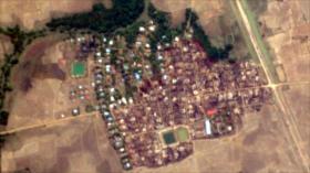 Fotos satelitales muestran casas de rohingyas musulmanes quemadas