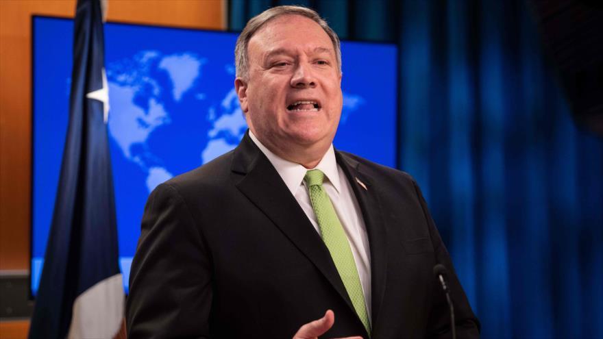 El secretario de Estado de EE.UU., Mike Pompeo, durante una rueda de prensa en Washington D.C., 20 de mayo de 2020. (Foto: AFP)