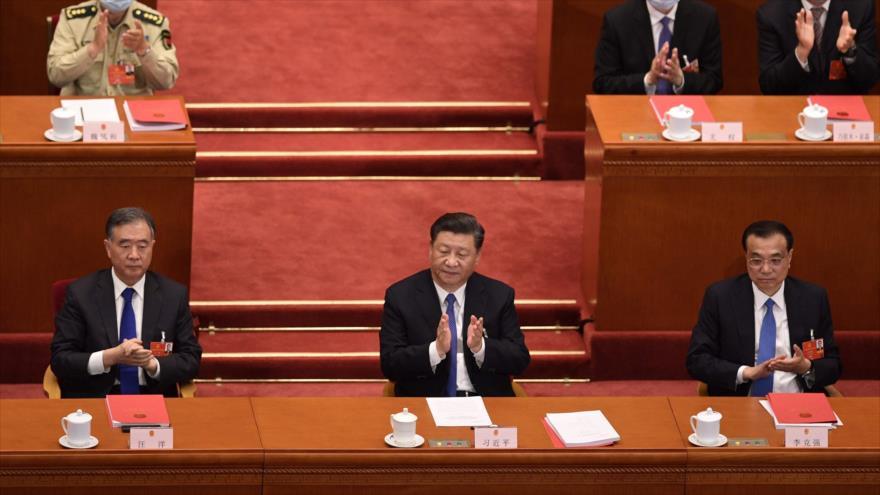 El presidente chino, Xi Jinping, en una sesión de la Asamblea Nacional Popular (ANP), Pekín, 28 de mayo de 2020. (Foto: AFP)