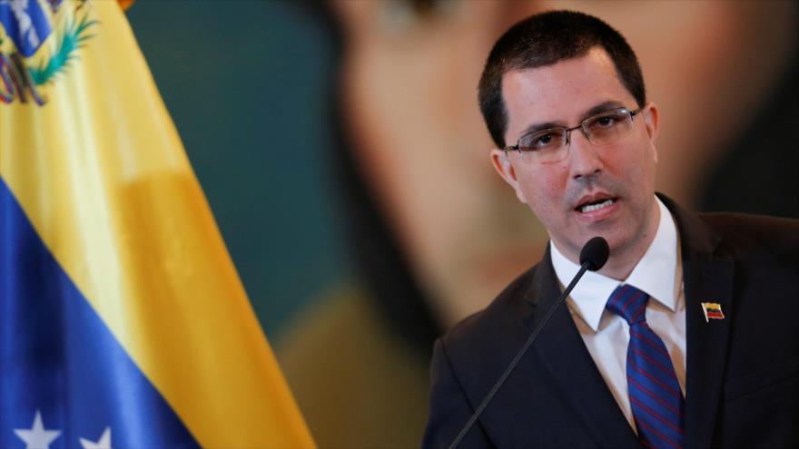 El canciller venezolano, Jorge Arreaza, durante una conferencia de prensa en Caracas, la capital, 6 de agosto de 2019. (Foto: Reuters)