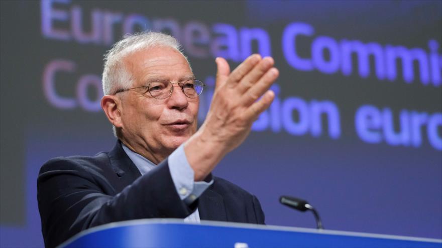 El jefe de la Diplomacia de la Unión Europea (UE), Josep Borrell, en una reunión del organismo en Bruselas, 26 de mayo de 2020. (Foto: AFP)