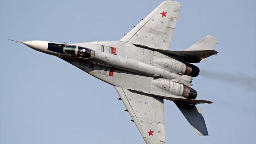Un caza MiG-29 de la Fuerza Aérea rusa.