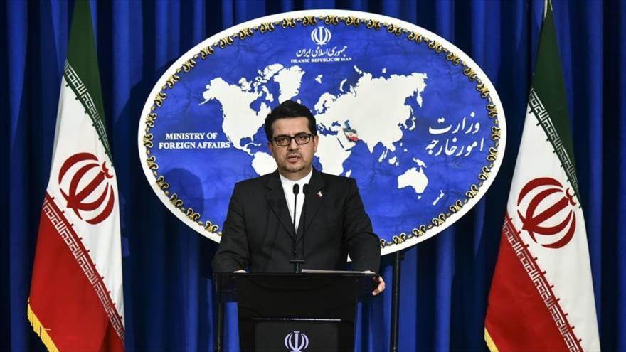 Seyed Abás Musavi, portavoz de la Cancillería de Irán, ofrece una rueda de prensa en Teherán, capital, 18 de mayo de 2020. (Foto: Fars News)