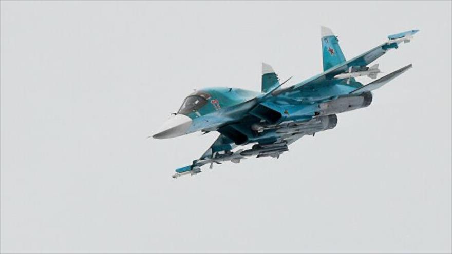 Así lanza una bomba pesada el cazabombardero ruso Su-34