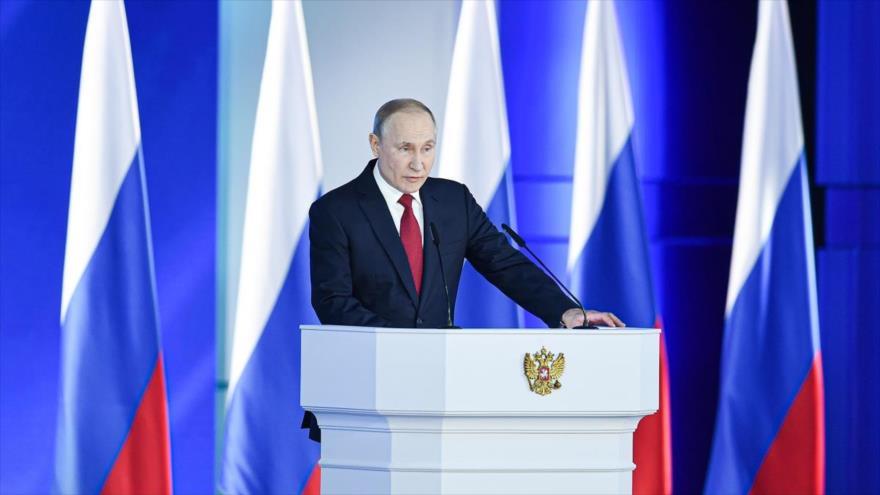 El presidente de Rusia, Vladímir Putin, en un acto político celebrado en Moscú, la capital rusa.