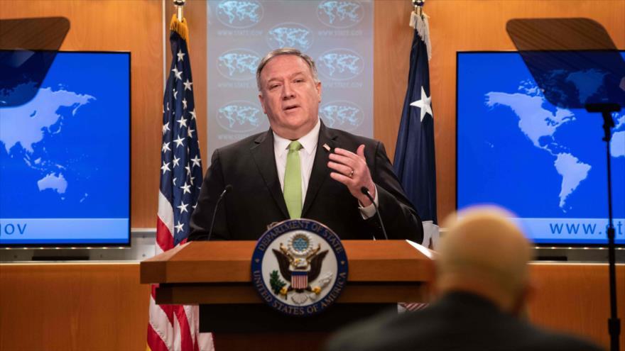 El secretario de Estado de EE.UU., Mike Pompeo, habla en la prensa, Washington D.C., la capital, 20 de mayo de 2020. (Foto: AFP)