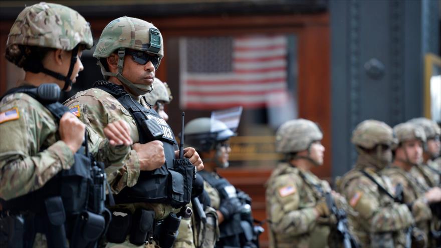 Soldados de la Guardia Nacional de EE.UU. durante una manifestación en Boston, Massachusetts, 3 de junio de 2020. (Foto: AFP)