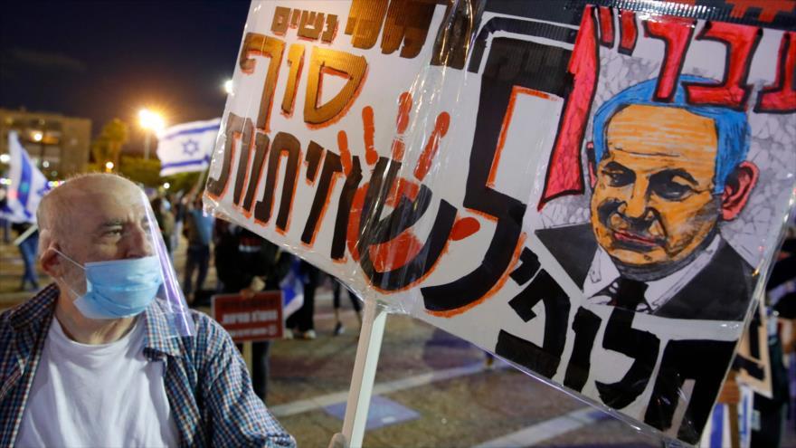 Israelíes protestan contra dictadura de Netanyahu: No puedo respirar