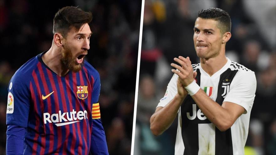 El astro argentino del fútbol mundial Lionel Messi (izda.) y el delantero del club italiano la Juventus Cristiano Ronaldo.