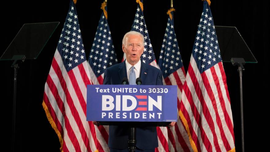 El aspirante a la Presidencia estadounidense, Joe Biden, habla en la Universidad de Delaware, ciudad de Newark, 5 de junio de 2020. (Foto: AFP)