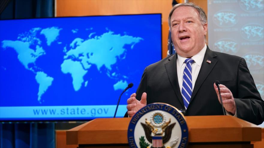 El secretario de Estado de EE.UU., Mike Pompeo, habla durante una conferencia de prensa en Washington, 06 de mayo de 2020.