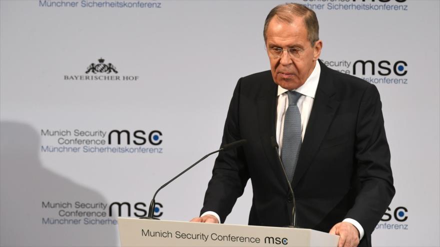 El canciller ruso, Serguéi Lavrov, durante la 56.ª Conferencia de Seguridad de Múnich (MSC), en Alemania, 15 de febrero de 2020. (Foto: AFP)