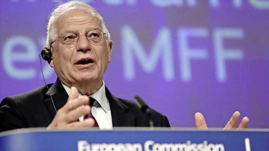 El jefe de la Diplomacia de la Unión Europea (UE), Josep Borrell, en una reunión del organismo en Bruselas, 2 de junio de 2020. (Foto: AFP)