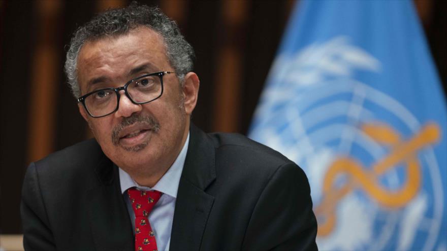 Director General de la Organización Mundial de la Salud (OMS), Tedros Adhanom Ghebreyesus, en conferencia de prensa en Ginebra, Suiza. 22 de mayo de 2020. (Foto: AFP)