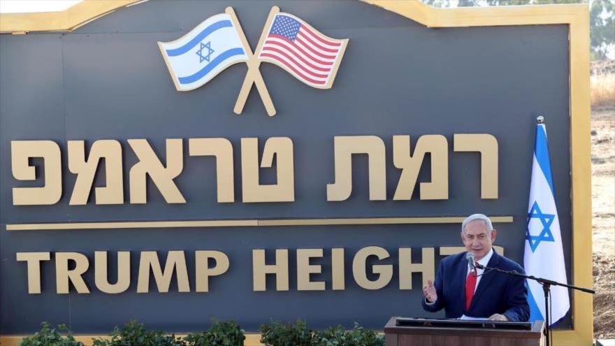 El premier israelí, Benjamín Netanyahu, pronuncia discurso durante la inauguración de la 'colonia Trump' en los altos de Golán, 16 de junio de 2019.